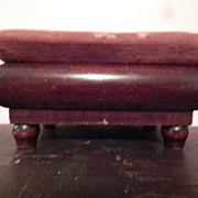 Antique Unusual Small Needlepoint Stool
