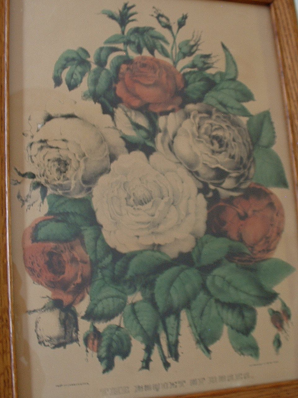 """Original Currier & Ives  Print """" The Boquet of Roses""""  1862"""