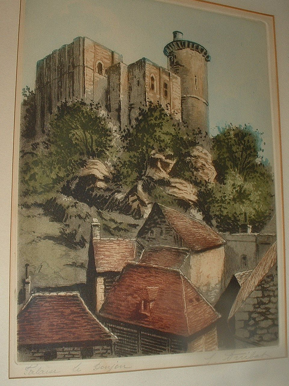 Vintage Palaise Le Donjon Etching