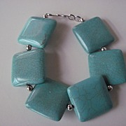 Turquoise Blue Magnesite And Silver Bracelet