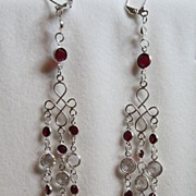 Elegant Swarovski Bright Red And Clear Crystal Sterling Silver Chandelier Shoulder Sweep Earrings