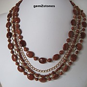 Unique Sparkling Five Strand Goldstone And Gold Chain Necklace