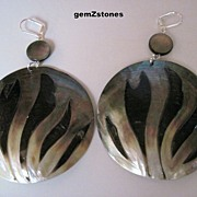 Extra Large Mother Of Pearl And Black Lip Shell Inlaid Statement Earrings