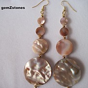 Beautiful Brown Lip Shell And Gold Graduated Disk Dangle Earrings