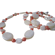 Iridescent White Mother Of Pearl And Coral Necklace