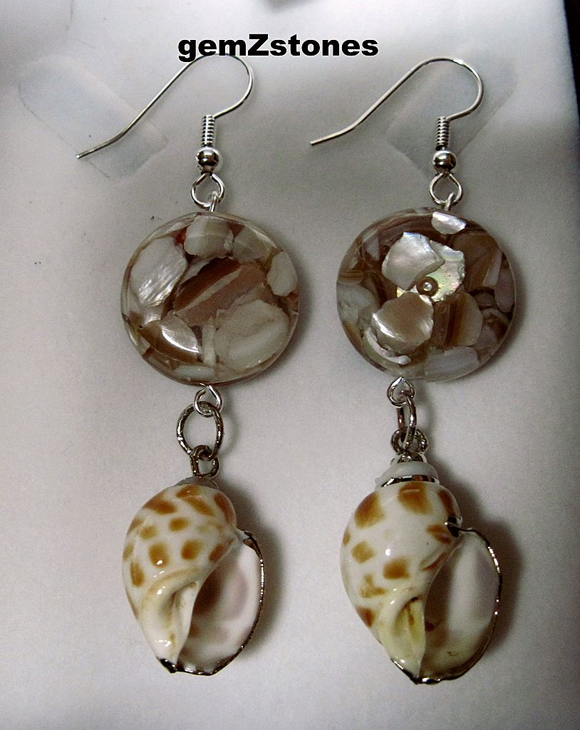 Golden Lip Shell And Natural Areola Shell Dangle Earrings
