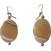 Simple Golden Aragonite And Natural Mother Of Pearl Dangle Earrings