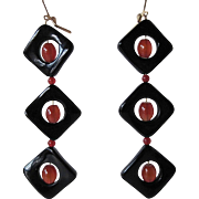 Unique Black Onyx And Red Carnelian Shoulder Sweep Earrings