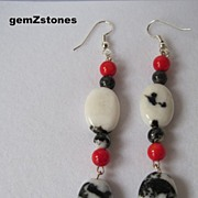 "Exotic Zebra ""Jasper"" And Bright Red Coral Dangle Earrings"
