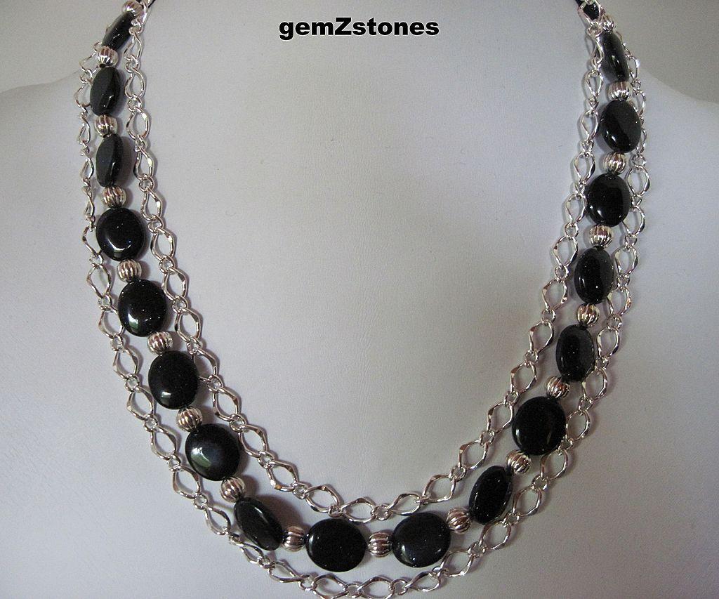 Sparkling Midnight Blue Goldstone Triple Strand Necklace
