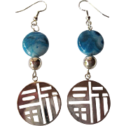 Blue Crazy Lace Agate And Silver Good Luck Earrings