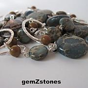 "Unique Aqua Terra ""Jasper"" And Tigerskin ""Jasper"" Single Strand Long Necklace"