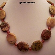Natural Crazy Lace Agate And  Reddish Orange Carnelian Single Strand Necklace