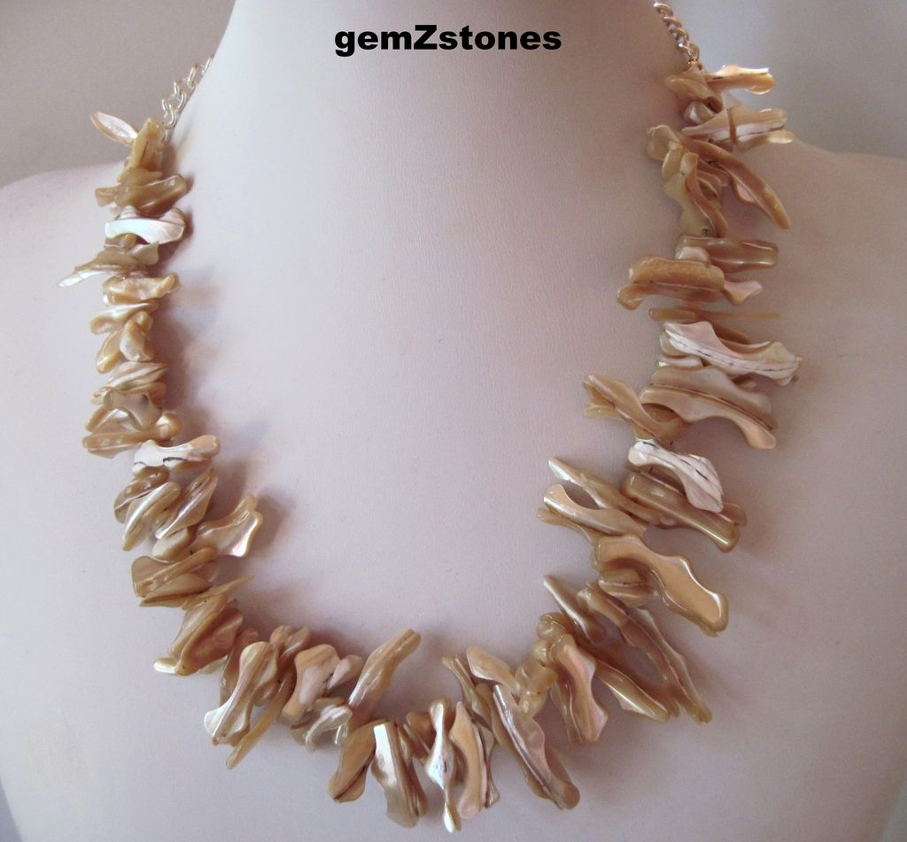 Eye-catching Natural Iridescent Champagne Color Mother Of Pearl Single Strand Necklace
