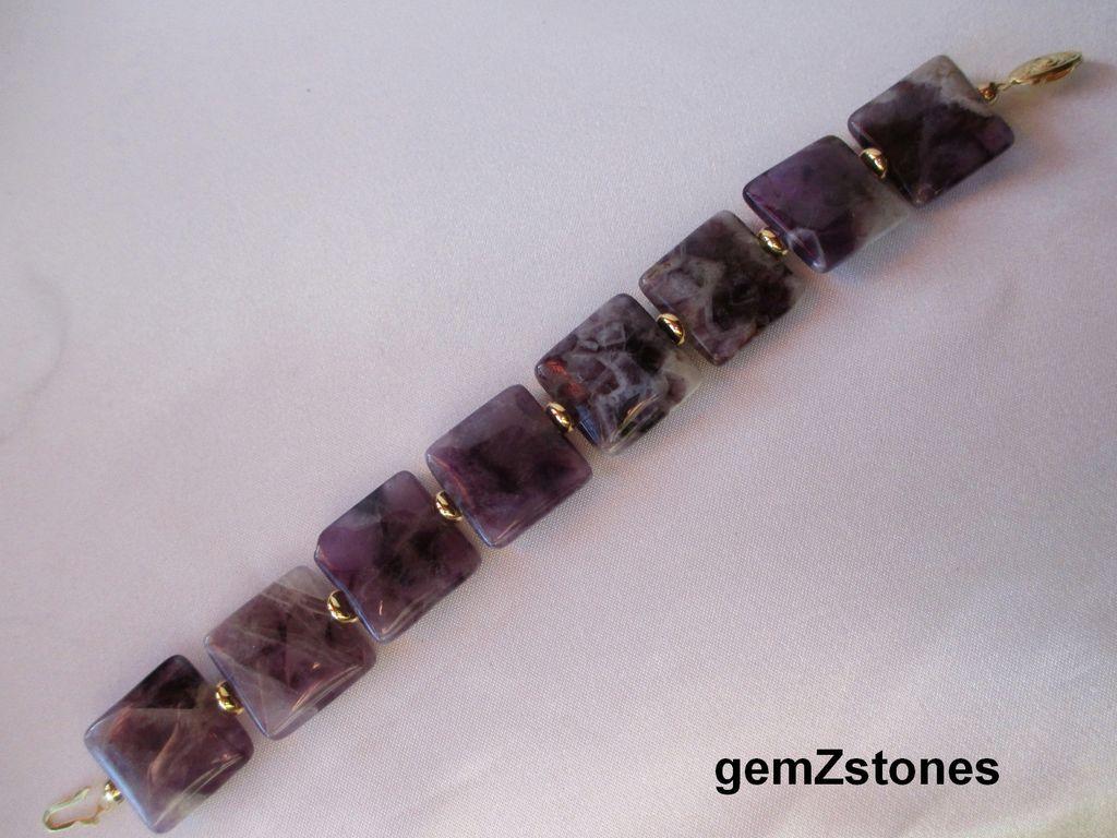 Pretty Chevron Amethyst Single Strand Bracelet