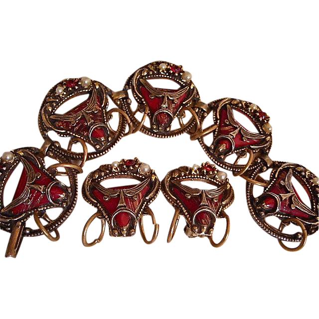 Selro Rare Unsigned Pirate Bracelet and Earrings Demi ~ 1950s