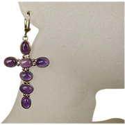 Vintage Amethyst Gemstone & Sterling Cross Crucifix Earrings ~ Large and Stunning