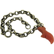 Superb French Silver & Carnelian Breloque Charm Bracelet ~ c1870