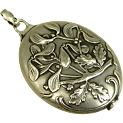 French Art Nouveau Antique Silver Mistletoe Pendant ~ c1900