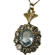 Fine Art Deco Aquamarine Silver Vermeil Pendant and Chain ~ c1920s