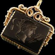 Antique 14ct Gold Sardonyx Onyx Intaglio Locket Fob ~ Demeter ~ c1820-1840