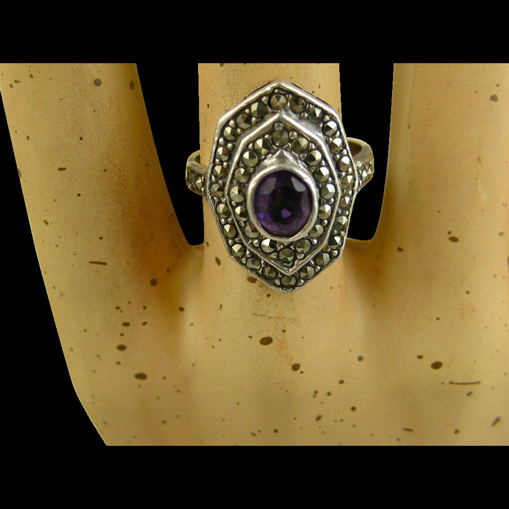Vintage Silver Ring ~ Amethyst, Marcasites ~ c1960s