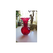 SALE Large Ruby Red Venetian Vase with Dolphins