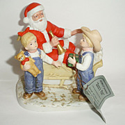 Denim Days Santa's Visit Homco Christmas Figurine 8924