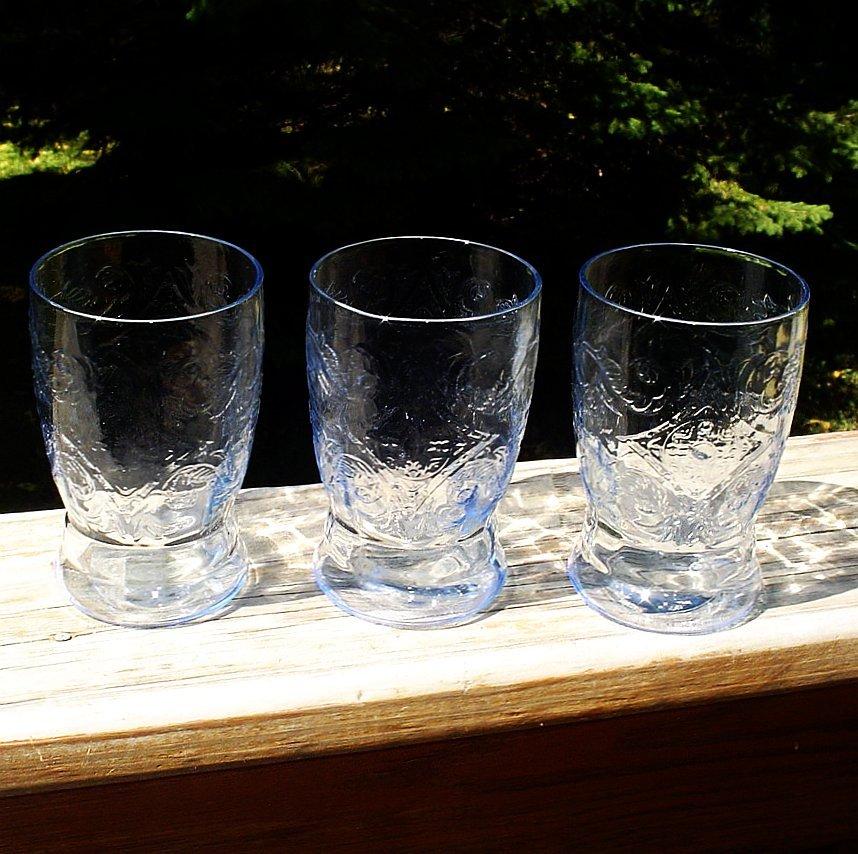 Madrid Blue Depression  Water Tumblers 3 Federal Glass