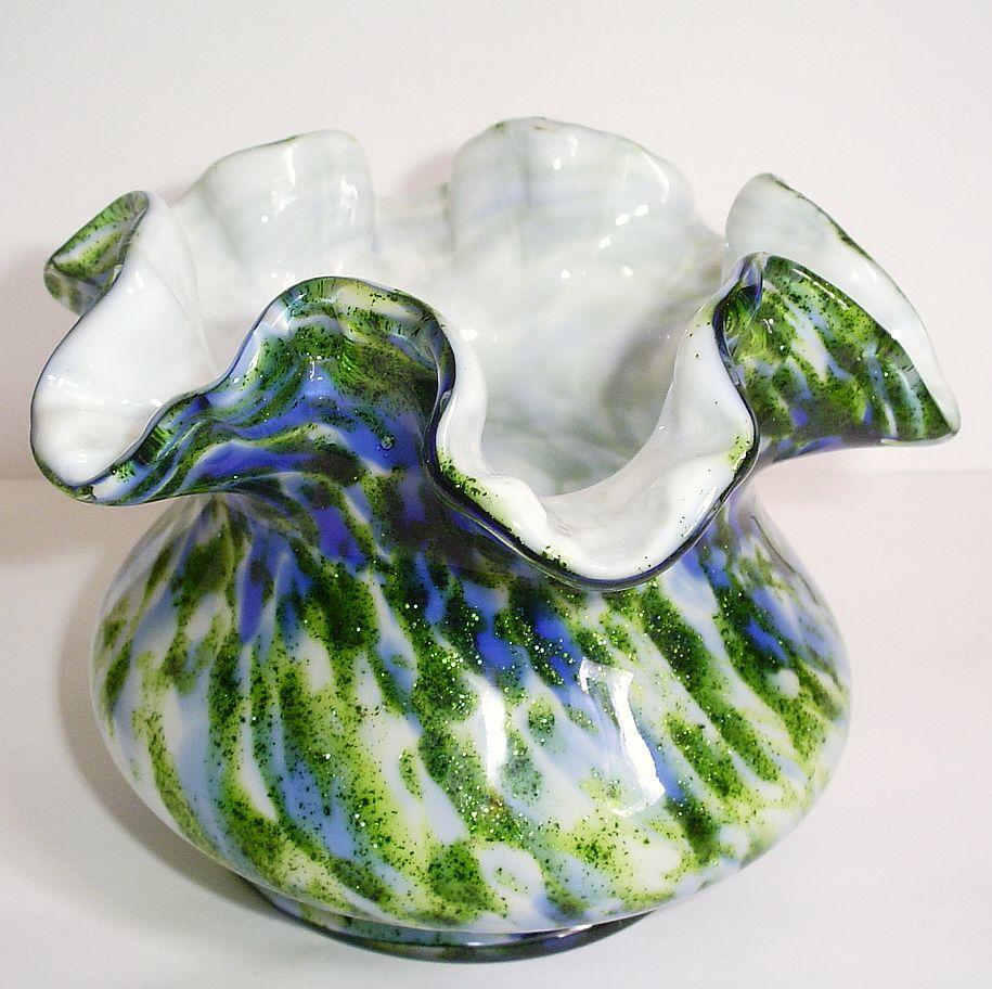 Fenton Vasa Murrhina Vase Aventurine Green W/ Blue