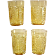 Sharon Cabbage Rose Amber Depression Water Tumblers