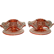 Fostoria Pink Candleholders Mushroom w/Swirl Optic #2393