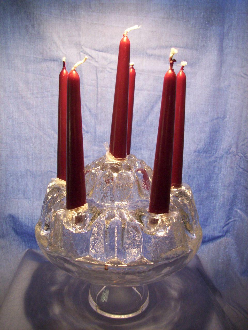 Signed Hellsten Glass Birthday Cake Candleholder/Vase
