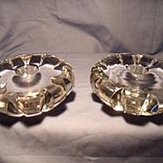 Pair Orrefors Solid Low Candleholders- signed