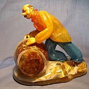 Vintage Bohemian Glass Barrel Man