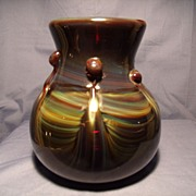 Signed Art glass Slag Vase by Frederick Warren