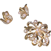 Marvella Rhinestones and Ribbons Pin and Earring Set