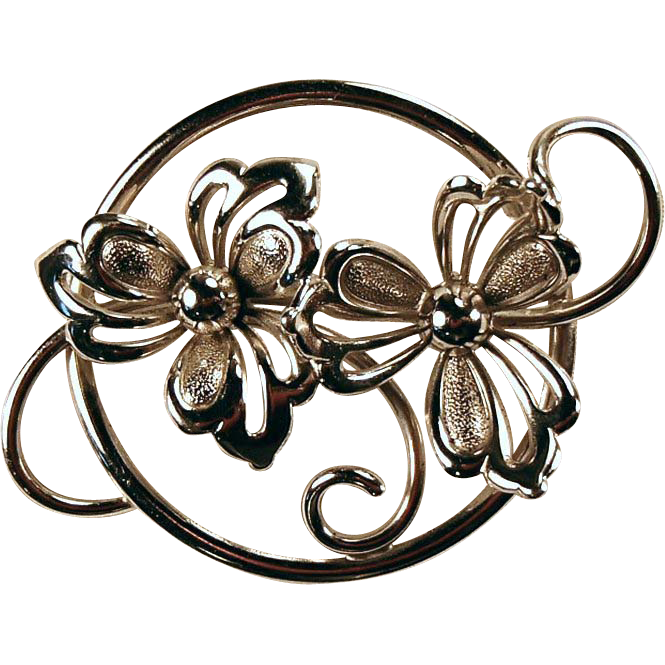 Sterling Flower Pin - Signed