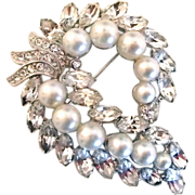 Eisenberg Faux Pearl and Rhinestone Brooch