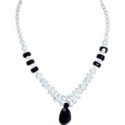 Black and White Czech Glass Necklace