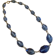 1940s Deep Blue Crystal Necklace