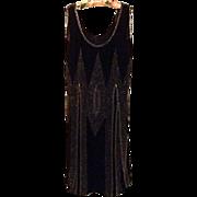 Black Crepe Chiffon Hand Beaded Flapper Dress, c. 1925