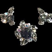 Pin and Earring Set With Hexagonal Rhinestone