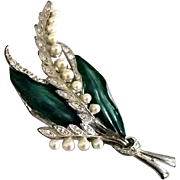 Enamel and Faux Pearl Brooch, c. 1940