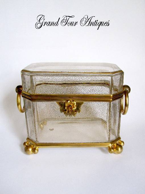 Large Baccarat Casket with perfect gilding and intricate key and Loop Handles