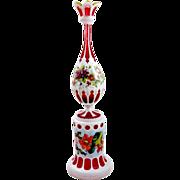 Unique Tall Antique Bohemian Overlay Vase