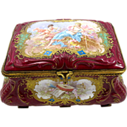 Antique Sevres Pink Porcelain Jewelery Box