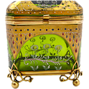 Antique Bohemian Green Glass Casket Enameled with Flowers