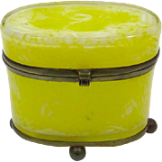 Rare Antique French Yellow Opaline Glass Casket