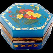 French 19th Century Hexagonal Blue Opaline Glass with Pretty Flowers Design.
